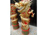2 6ft Vintage Restaurant Oriental Chinese Carved Wood Dragon Column Pillars.