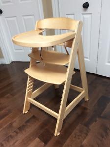 high chair, natural wood
