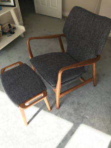 Mid Century Modern - Walnut Chair and Stool