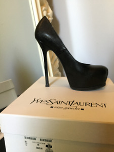 "YSL Yves Saint Laurent Black Pebbled Leather ""Tribtoo"" Pumps, 38"