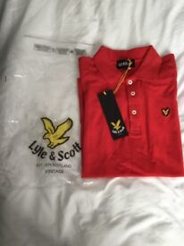 Brand new with tags s/s red Lyle and Scott polo, rrp £40, Small Men