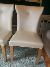 Two Beautiful Dining Chairs Leather Cream and Gold fabulous condition.