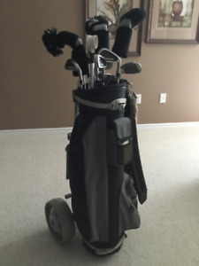 Man's Golf Clubs, Golf Bag and Cart