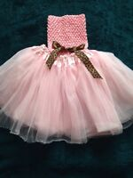 Girls tutu & top with leopard bow
