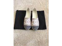 New Chanel Beige with Black Linen Sequin Espadrilles UK: 6/EU 39