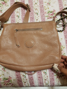 Beige Roots Leather Bag
