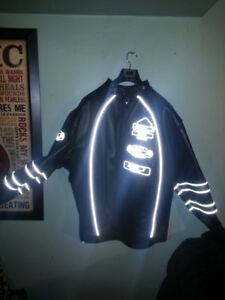 Black Leather Reflective Authentic U.S.A. Motorcycle Jacket