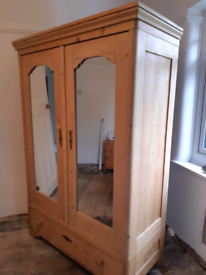 French Country Pine Antique Wardrobe