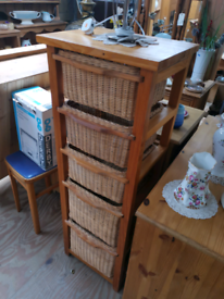 Basket type tall boy laundry chest