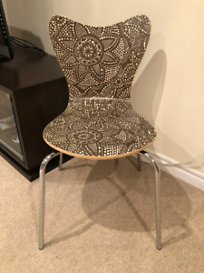 Chair - Desk or Dining. Brown and Beige Wood. Metal/Chrome Legs
