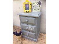 Shabby Chic Grey Bedside Table Cabinet Solid Heavy Wood