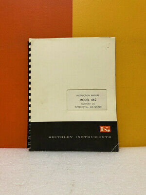 Keithley Model 662 Guarded Dc Differential Voltmeter Instruction Manual