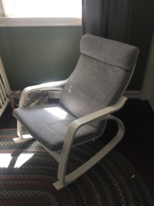 IKEA Rocking Chair - White frame, grey cover - NEW!  $100 obo