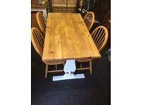 Farmhouse solid pine table and chairs. Free delivery