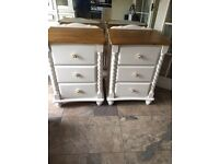 Solid pine bed side cabinets