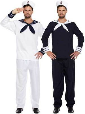 Mens Sailor Fancy Dress Costume With Hat Naval Marine Officer Mate Seaman Outfit