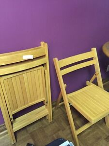 Wooden folding chairs set of 3