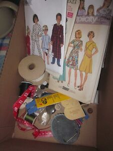 Box of Pattens, Thread, Buttons, Bag and Ribbons