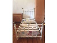 Victorian Style cream & gold metal bed frame