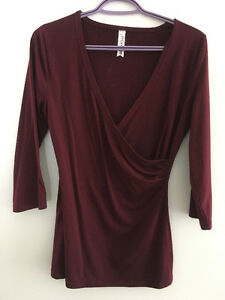 Burgundy Top with 3/4 Length Sleeve - Size Small