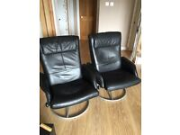 ARMCHAIRS BLACK swivel, reclining faux LEATHER (cannot tell difference) STUNNING!