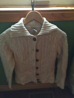 LL Bean women's/ladies sweater button-up, ivory size xs