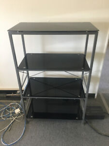 Black and GLASS SHELF Unit FOR SALE! - $40