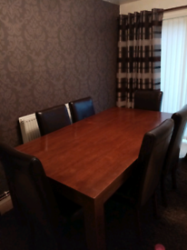 Solid wood table and 6 leather chairs