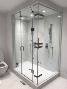 10mm frameless shower glass door and glass railing