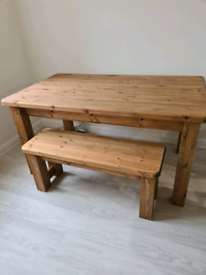 6 Seater solid pine table and bench seat
