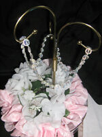 Brass on glass centerpieces starts at $5.00 each rental