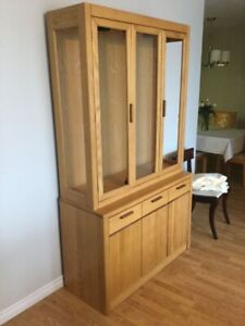 Wood Hutch Display Cabinet
