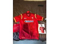 Wales signed rugby shirt and programme.