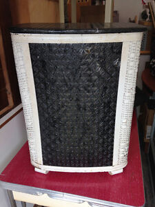 Black and white wicker  clothes basket