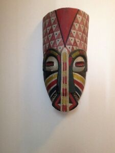 OLD WOODEN MASK (POSSIBLY MAYAN OR AZTEC )