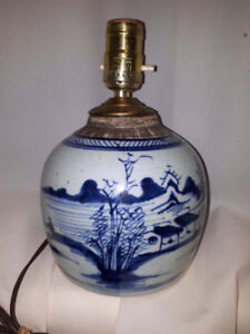 Antique Chinese  Table Lamp  Blue and White Ming  Ginger Jar