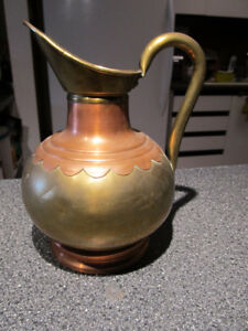 Beautiful vintage water jug made of brass & copper.