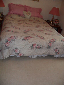 Queen Bed Quilt Shams, Bed Skirt and Curtains Set