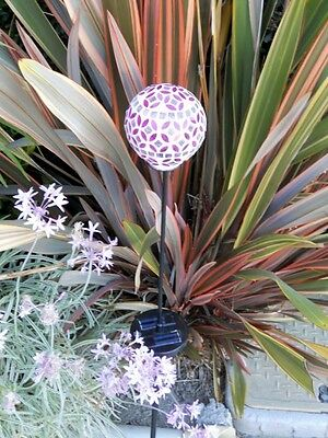 Set of 2 Garden Solar Power Mosaic Glass Red Reflector Ball Color Changing (2 Red Solar Ball)