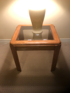 Oak End Tables and Lamps