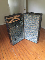 Vintage Steamer Travel Wardrobe Trunk