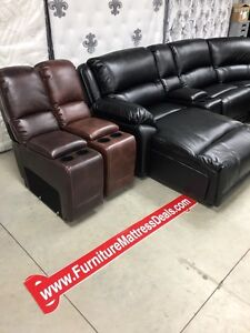 New large leather chaise power sofa sectional 3 colors $3200
