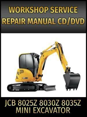 Jcb 8025z 8030z 8035z Mini Excavator Service Repair Manual On Cd