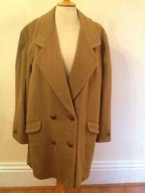 Vintage 100% wool camel coloured coat pristine 16-18