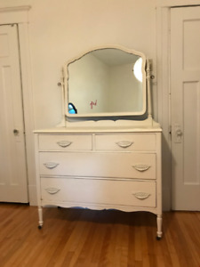 Classic Vintage White Armoire/Drawer with Mirror and Wheels