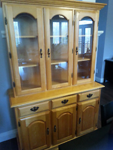 Solid wood maple hutch and dining table with 6 chairs