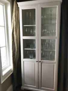 Two White Display Cabinets with Glass Doors
