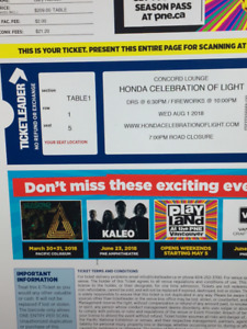 Honda Celebration of Light, 2 Tix for August 1 at Concord Lounge