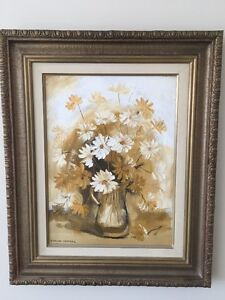 Framed oil painting -Daisies in Jug by Eviline Campbell