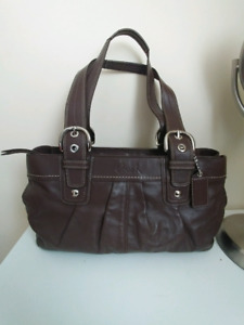 Coach Brown Leather Tote Handbag Shoulder Bag Purse F13732